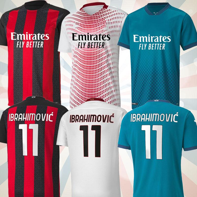 4XL fanlar oyuncu versiyonu AC Soccer Milan Balr. Jerseys 2020 2021 Ibrahimovic Tonali Mandzukik Kessie Erkekler Kid Kitleri Futbol Eğitim Gömlek
