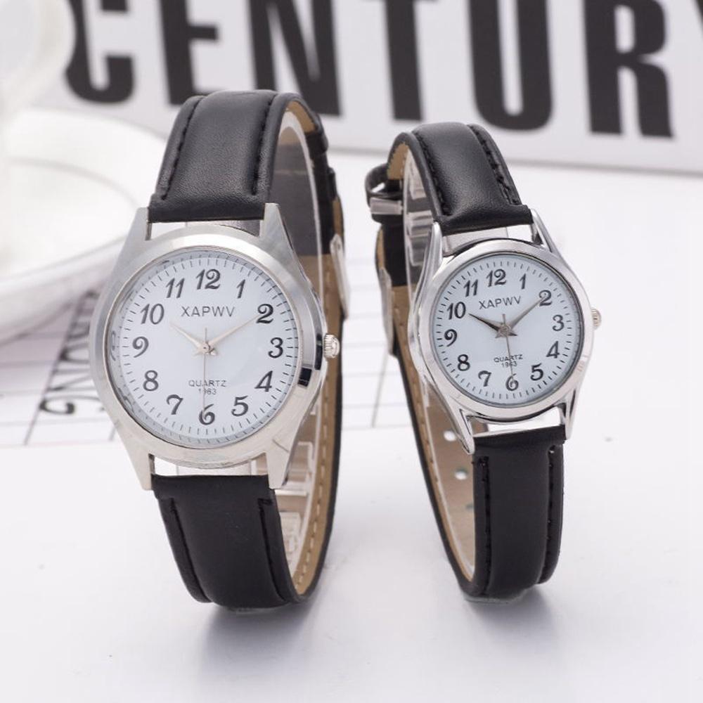 50 stücke Einfache Silber Große Zahlen Liebhaber Paar Uhren Für Mode Frauen Herren Studenten PU Leder Kleid Quarz Armbanduhr Uhr