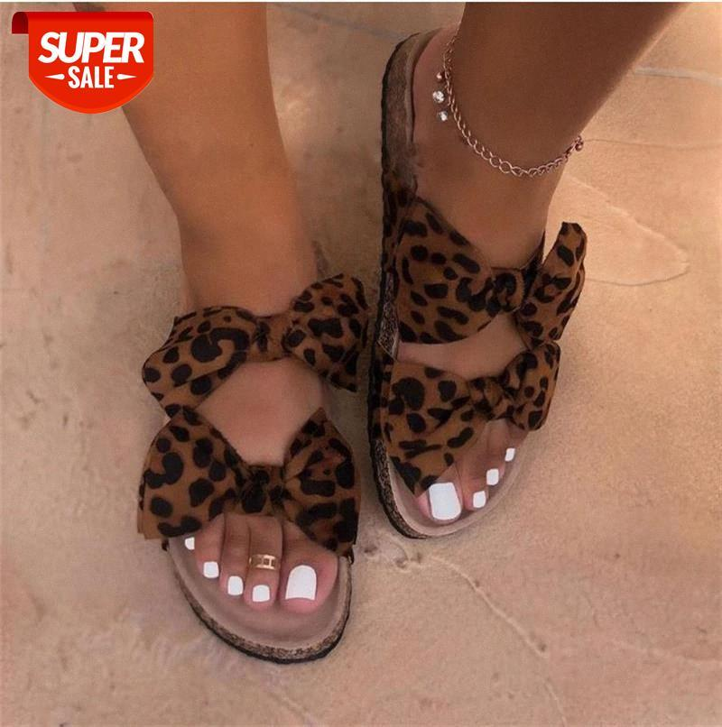 2020 Women Slippers Shoes Summer Flat Sandals Bow-Knot Comfort Retro Anti-Slip Beach Platform Slide Zapatos Mujer #L80F