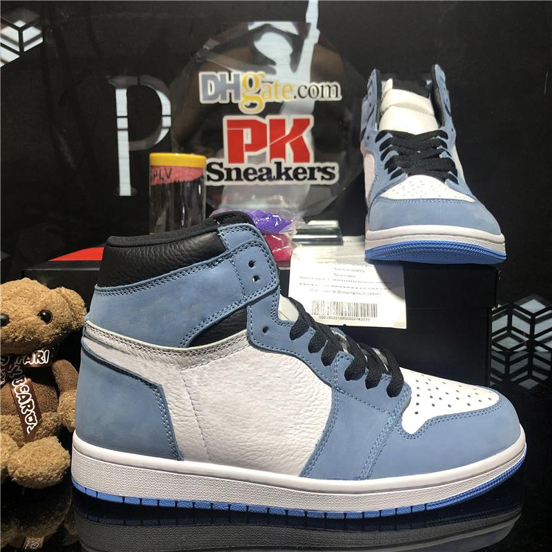 top quality jumpman 1 1s high basketball shoes obsidian UNC university blue white game royal toe sport trainer mens shattered backboard 3.0 men sports sneaker with box