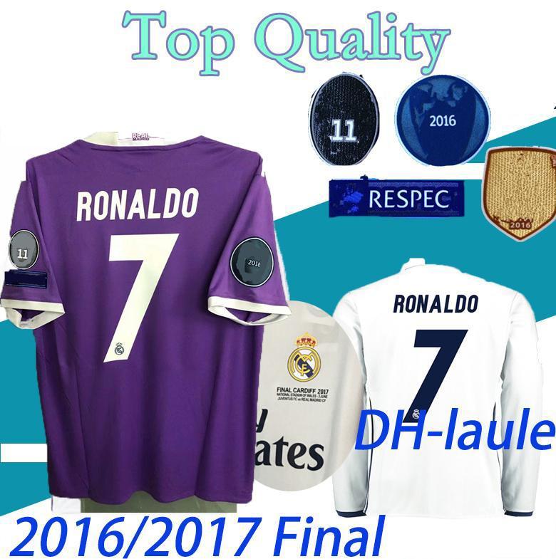 짧은 긴 소매 2016 2017 U C L 리그 결승 축구 유니폼 16/17 레알 마드리드 홈 축구 유니폼 3 Jun Ronaldo 축구 유니폼