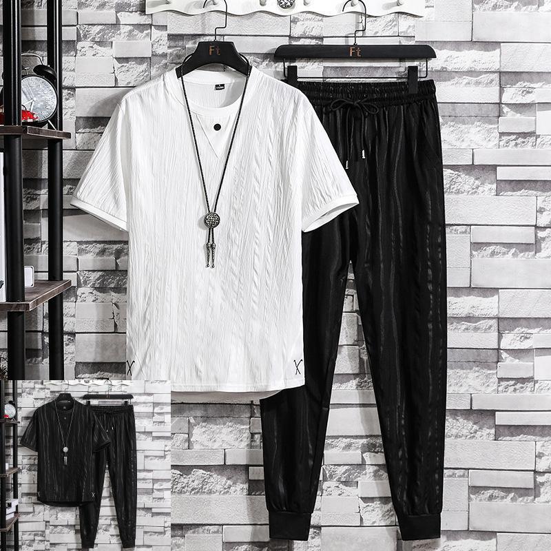 Tasarımcı erkek lüks spor kalite eşofman kısa kollu t-shirt 2021 trend eğlence basit ve yakışıklı bir takım elbise moda marka t s