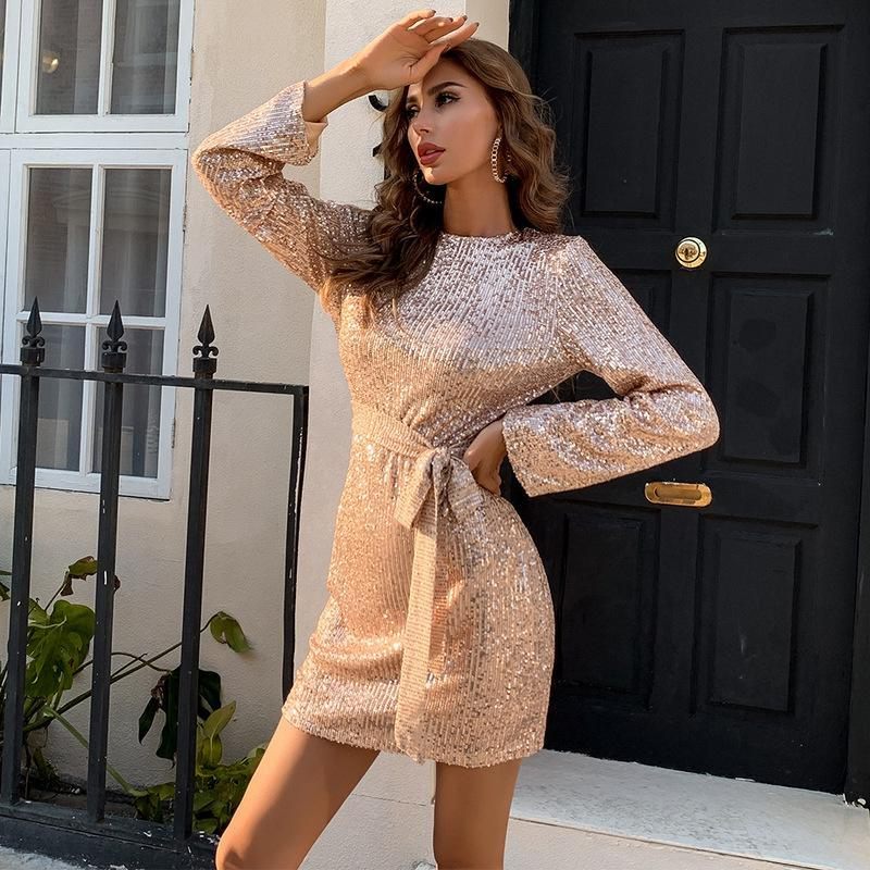 Casual Dresses Women Long Sleeve Mini Dress 2021 Summer Solid Sexy Hollow Out Bodycon Sequin Lace Up Party Evening Elegant