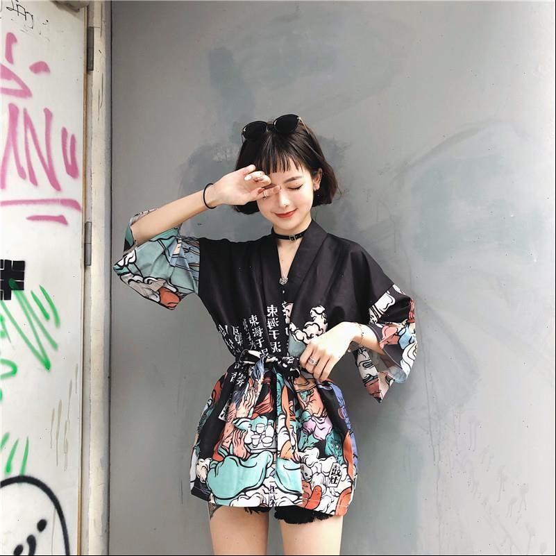 Harajuku Japanse Kimono Womens Shirt Print Chimono Zomer Cosplay Yukata Vrouwen Tops Mode Dunne Losse Blouse Drop