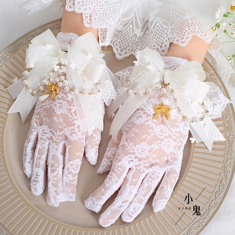 Five Fingers Gloves Original Design Lolita White Lace Bow Bead Necklace Finger Sun Protection Elegant Retro