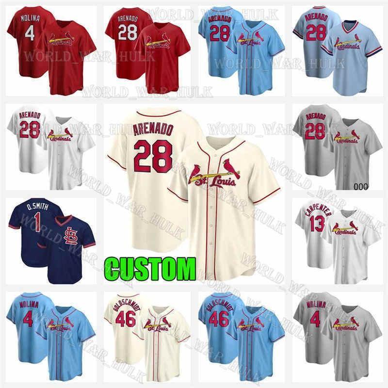 28 Нолан Аренадо Джерси Сент-ЛуисКардиналыБейсбольные майки 3 Дилан Carlson Paul Goldschmidt Ozzie Smith Yadier Molina Custom 2021