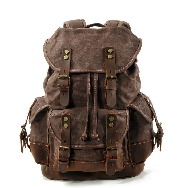 야외 가방 빈티지 캔버스 가죽 배낭 남성용 노트북 Daypacks 방수 배낭 대형 왁스 여행 팩