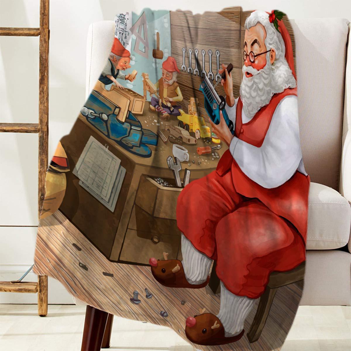 Tirar manta 40x50 pulgadas, mantas de franela suave ultra suave Navidad enano regalo haciendo acuarela ilustración, toda la temporada mullida