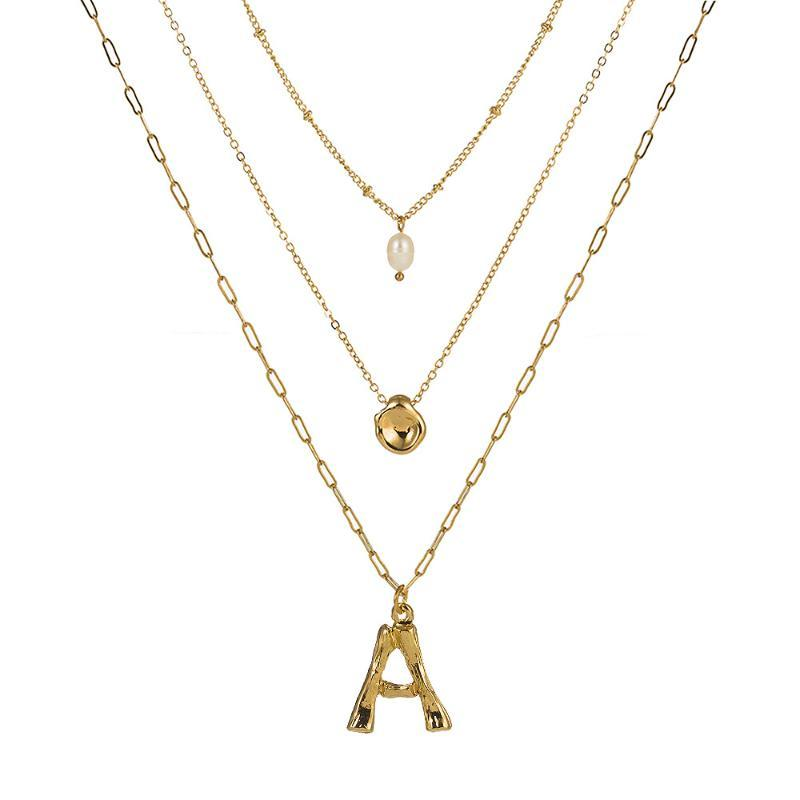Pendant Necklaces A-Z 26 Initials Alphabet Letter Necklace With Gold Color Fresh Water Big Custom Name Jewelry Bijoux