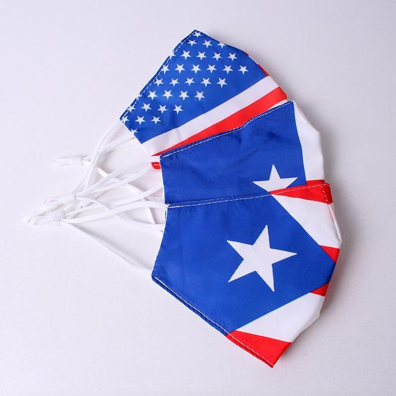 قناع العلم الأمريكي PM2.5 قناع الوجه القطن للرجال والنساء الغسيل الغسيل واقية واقية ليوبارد