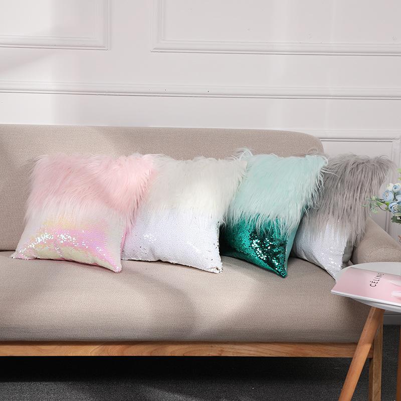 Almofada / Travesseiro Decorativo Bonito Nordic Plush Fronha de Lã Faux Fur Almofadas Ins Sofá Lantejoulas Coxim Princesa Cama Decoração