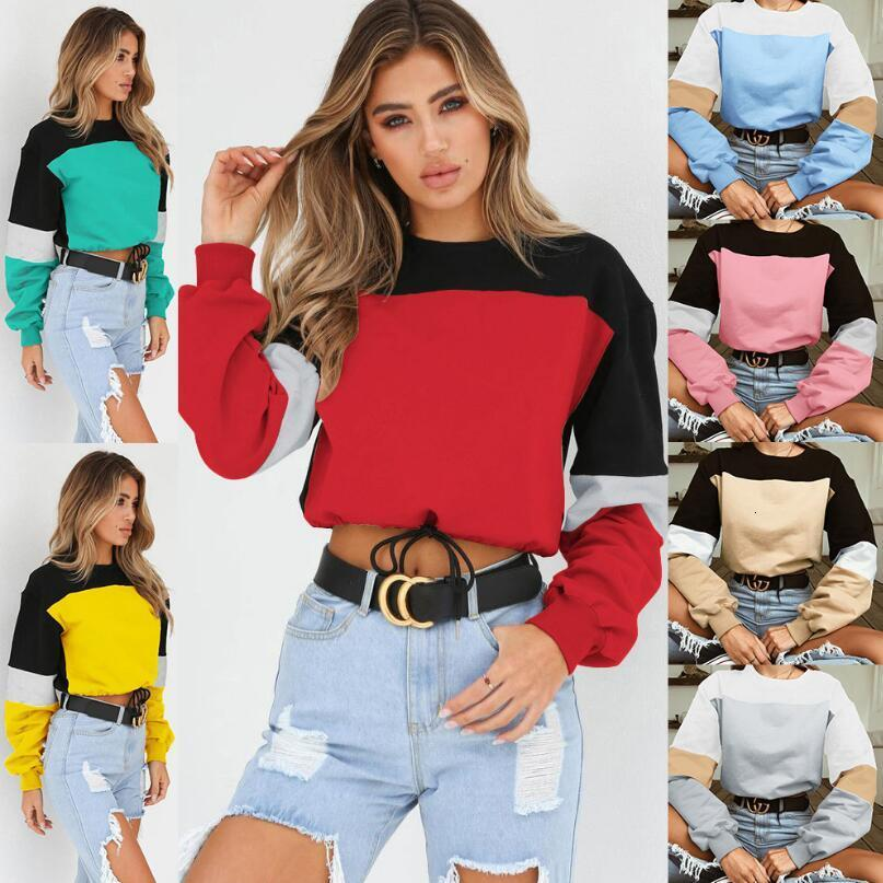 Wholesale- European and American women's seven color stitching round neck strap sweater Hoodies & Sweatshirts