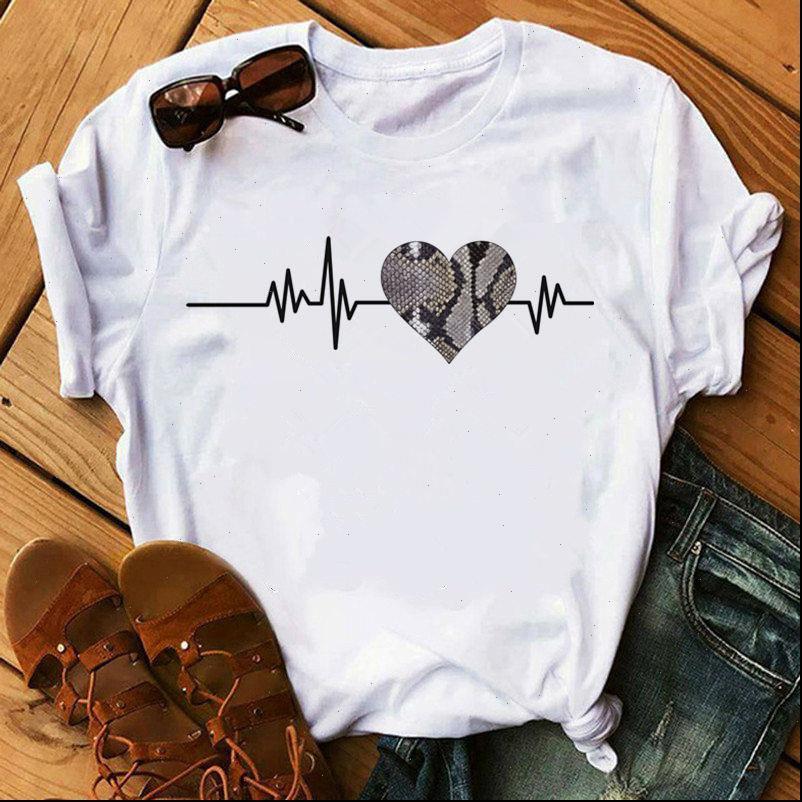 Moda donna T Shirt Leopard Love Heartbeat Stampa Donna Summer Manica Corta Vogue Bianco Tee Harajuku Tops