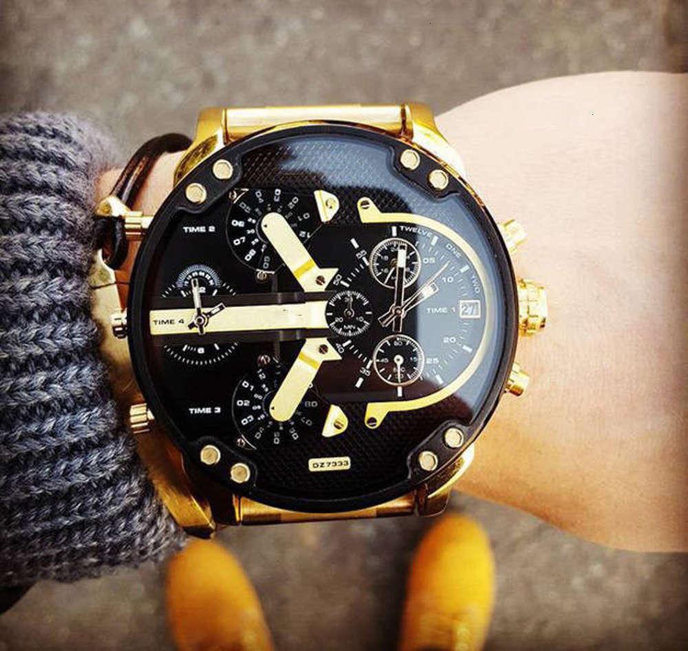 Relógios de relógios Personality Dial Big Dz73 moda de aço inoxidável com relógio de quartzo para homens atrw