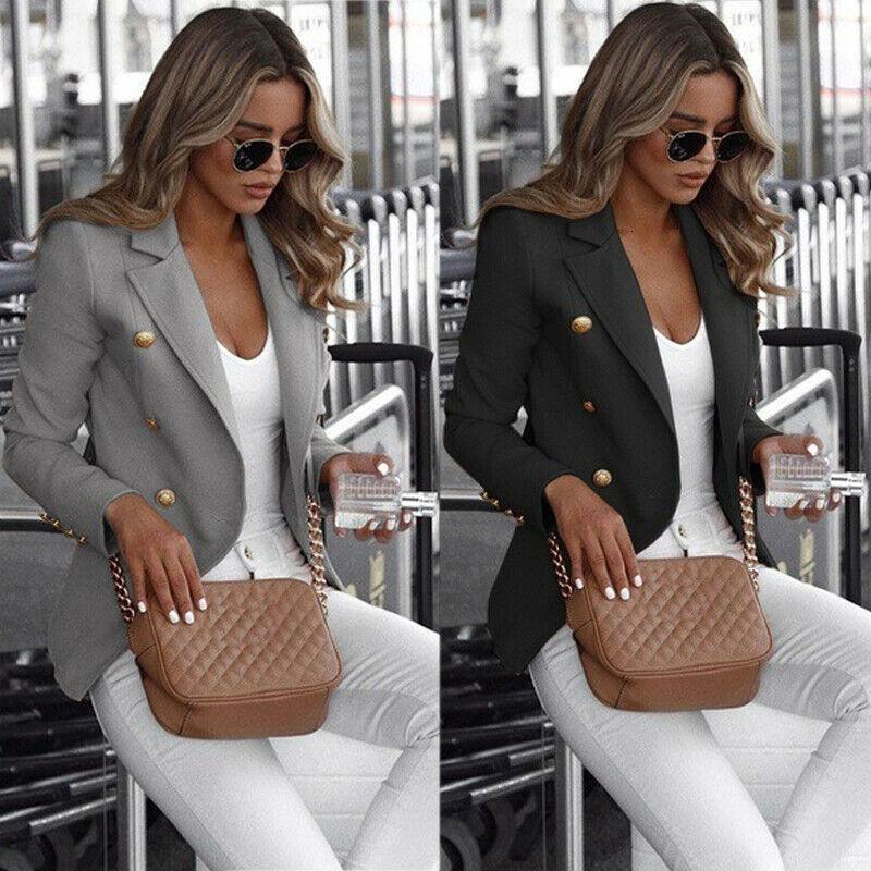 Размер большая женская кнопка с длинными рукавами, работа женщин-офисное пальто, одежда, топ-люкс