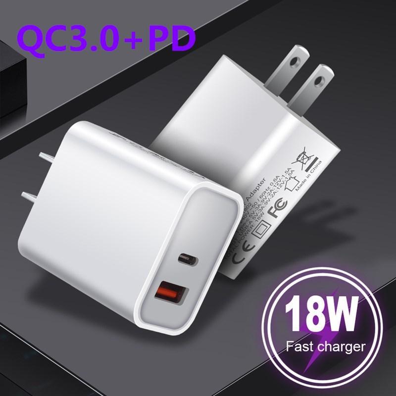 18W быстрые зарядные устройства типа C Быстрая зарядка ЕС US USB USB Plug с QC 3.0 для смартфонов IOS Android