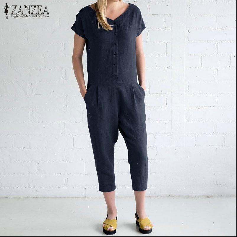 Pants Combinaison Femme Vintage Linen Overalls Button Down Rompers Female V Neck Playsuits Harem Womens Jumpsuits ZANZEA