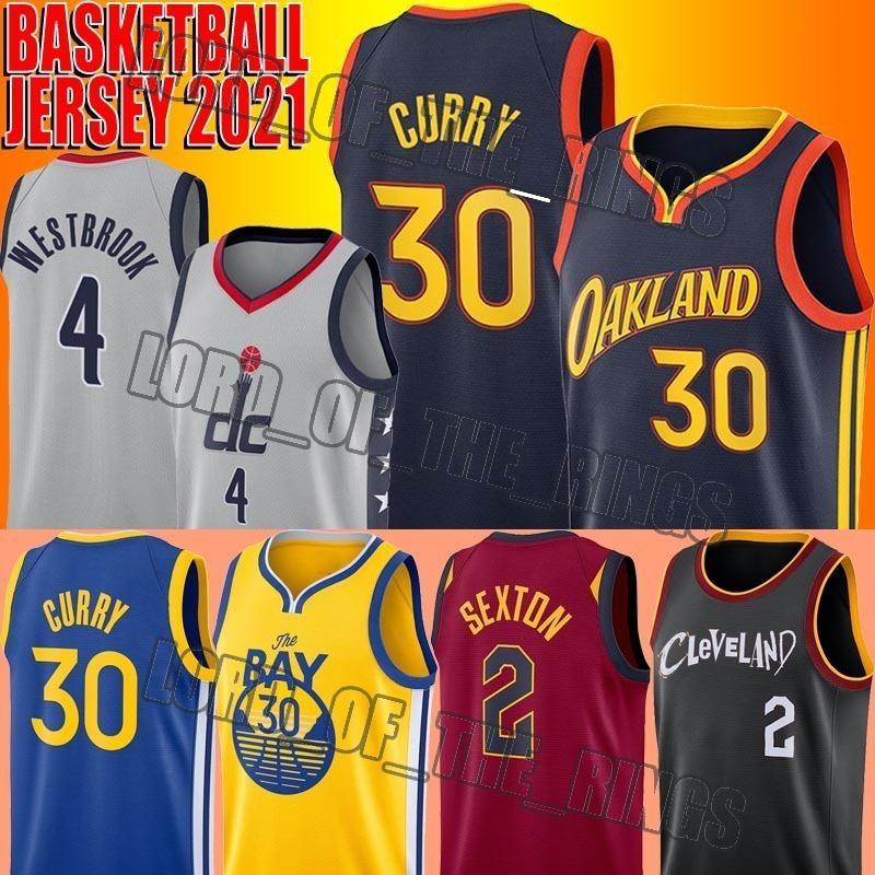 Basketball Stephen 30 Curry Jersey Russell 4 Westbrook Jerseys Collin 2 Sexton Jersey James 33 Wiseman Trikots