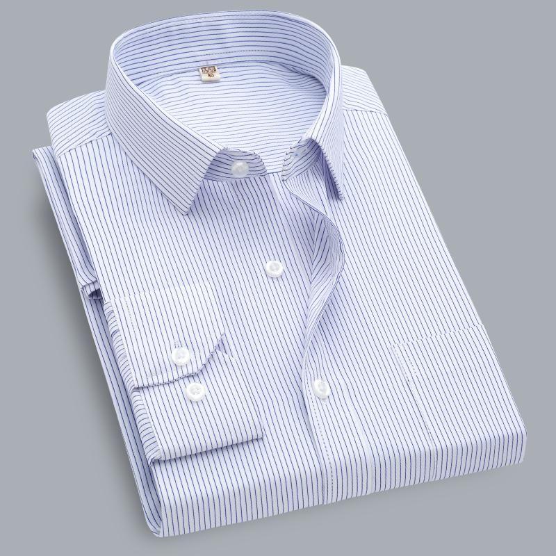 Striped Shirt Men Formal Business Dress Shirts Long Sleeve Slim Fit Plus Size 7XL 8XL 9XL Men's