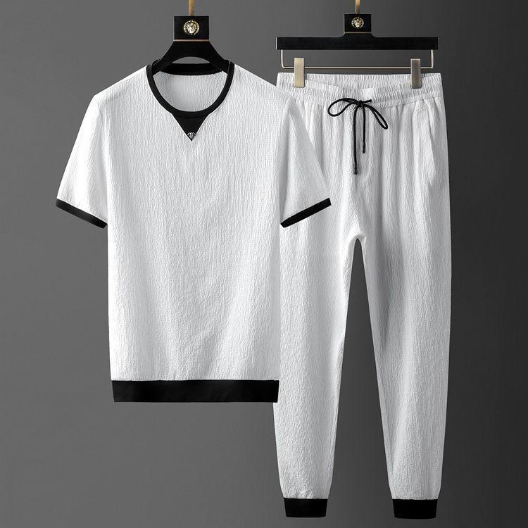 Men's Tracksuits Light Luxury High-end Fashion Short-sleeved Casual Summer Quick-drying Thin Ice Silk Sports Suit Men