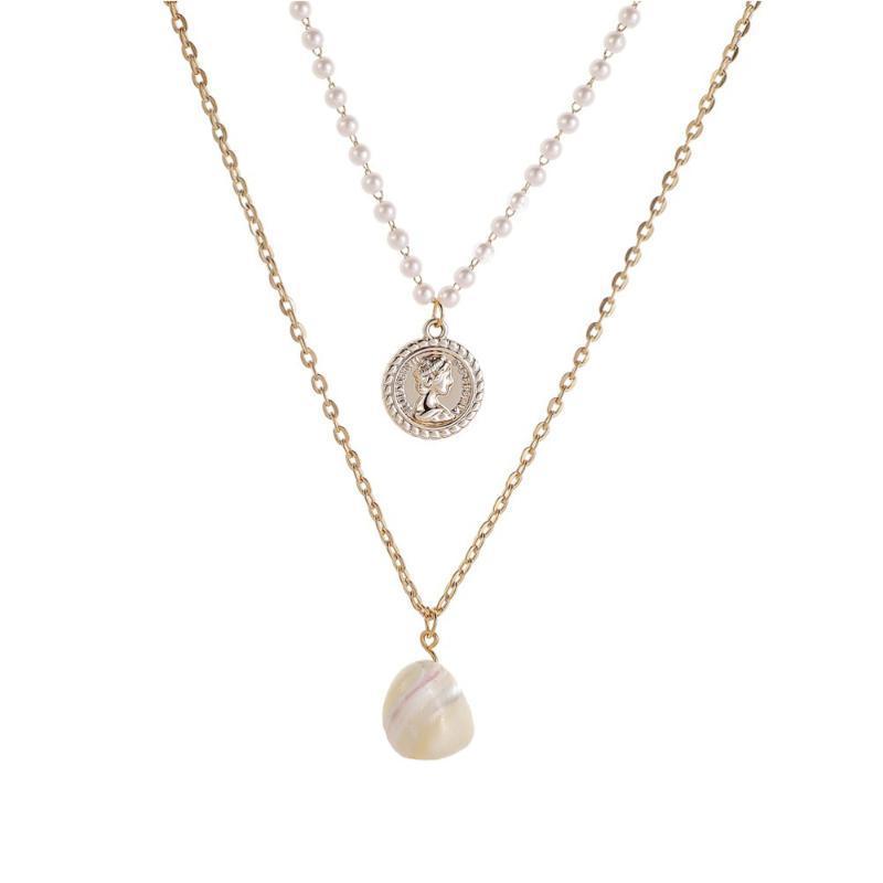 Collares colgantes 1 Conjunto de collar de perlas barroco Clavícula vintage para