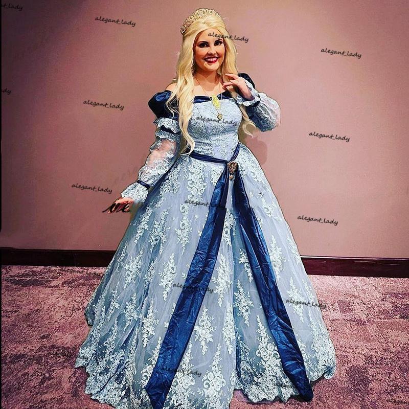 Mucizeler Kapalı Omuz Gelinlik Modelleri Uzun Kollu Tozlu Mavi Külkedisi Cosplay Merhametli Akşam Parti Kıyafeti Kostüm Kız Elbise