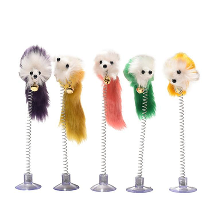 Random Color Plastic Cat Toys Feather Funny Mice Shape False Mouse Pet Products Bottom Sucker Elasti Toy