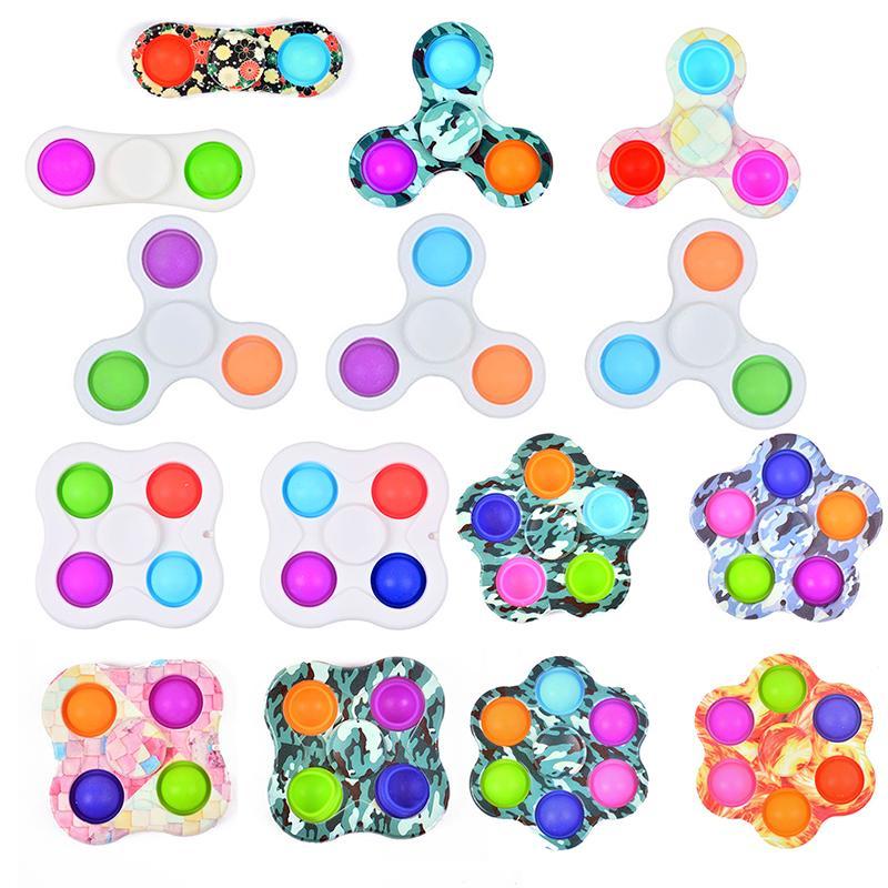 Fidget Spinner Toys Push Pop Bubble Silicone Fingertip Top Discompression Llavero Roedor Killer Sensory Balls Llavero Colgante