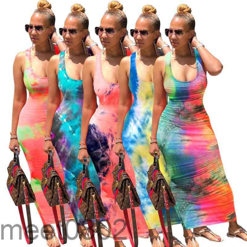 2021 Новые женские платья дизайнер мода U-образные вырезывает женскую длинную юбку галстук окрашенные повязки платья горячие продажи 5 цветов повседневные юбка лодыжки
