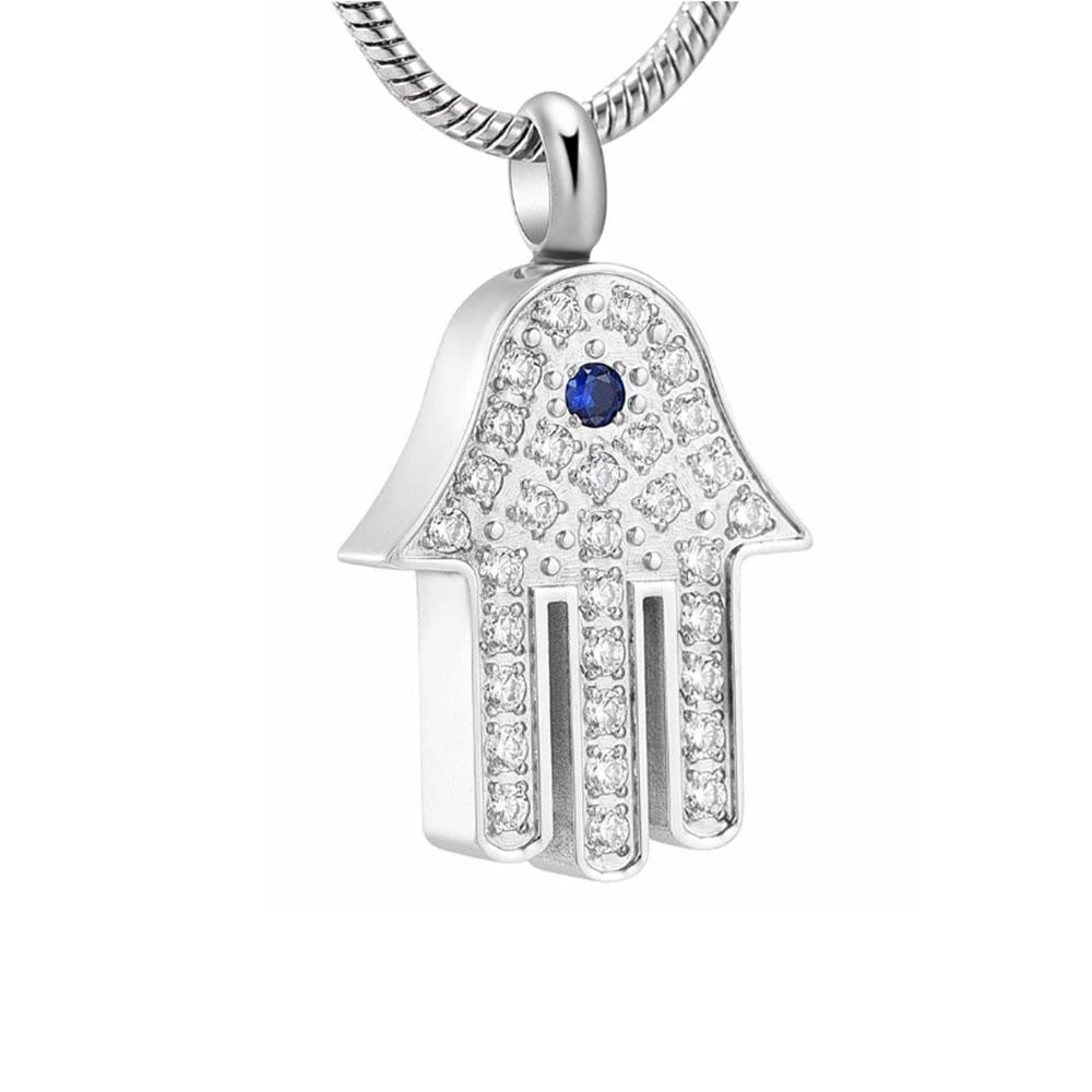Wholesale stainless steel hand-shaped cremation ashes pendant ,Pet Ashes necklace souvenir jewelry gift-with filling kit