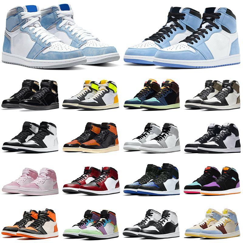 air jordan retro 1 أحذية كرة السلة للرجال Jumpman 1s جامعة أزرق أسود ذهبي تويست خفيف دخان رمادي شادو أحذية رياضية رياضية للرجال والنساء