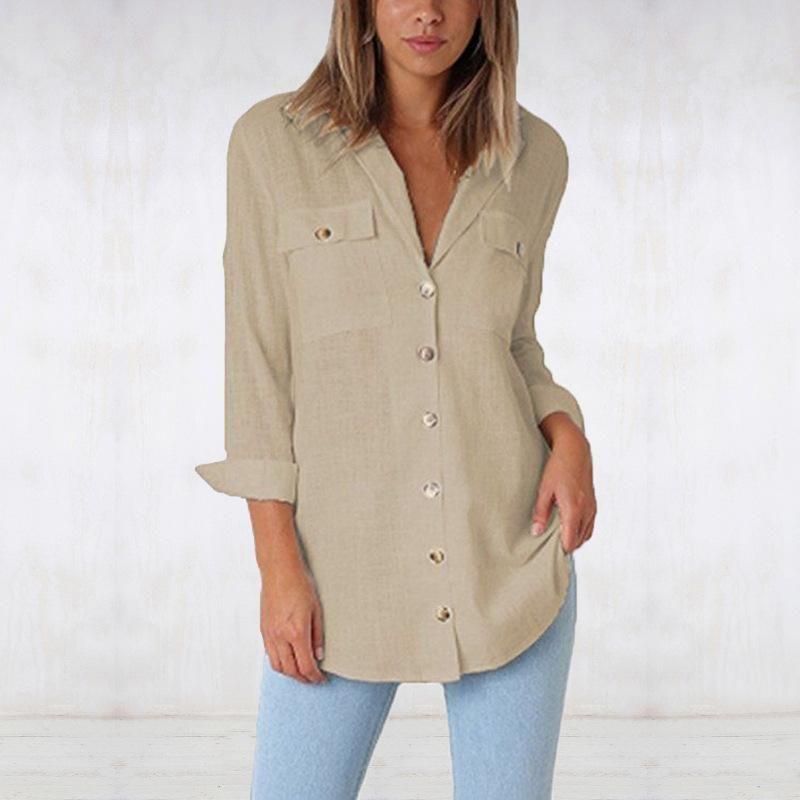 Mulheres blusa feminino senhoras botão sólido vestuário bolsos das mulheres top shirt das mulheres blusas camisas