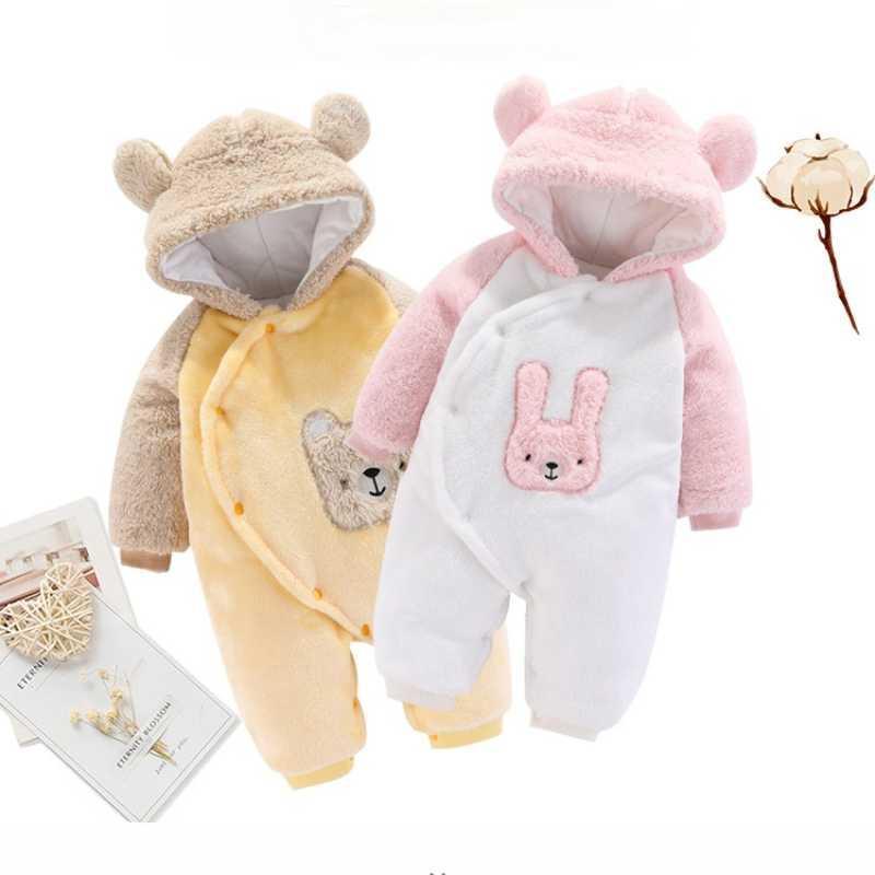 Mono nacido bebé mameluco mameluco infantil niñas de dibujos animados manga larga manga traje otoño vellón sudadera con capucha chico invierno ropa