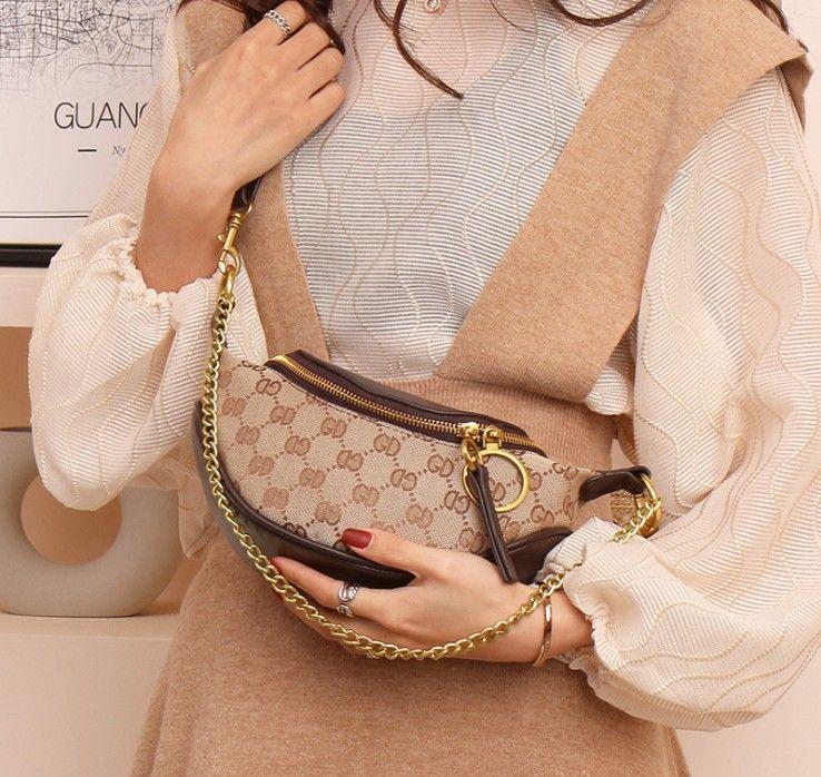Eine Schulter Kreuz Körper Mode PU Dumpling Tasche Taille Handtasche Kette Reißverschluss Damen Tasche Qualität Design Geldbörse