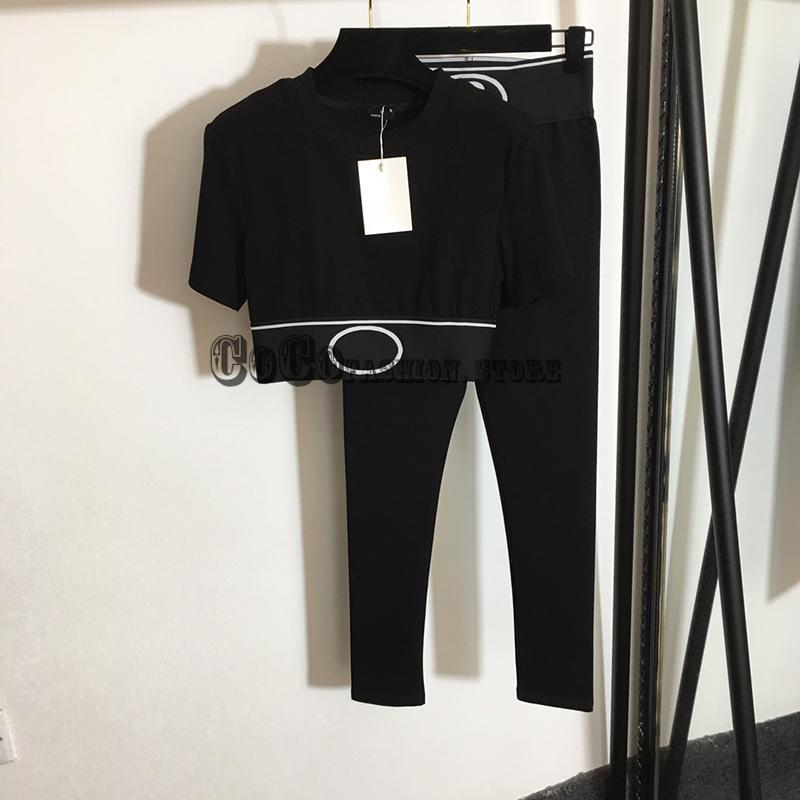 Designer de luxo Duas roupas para as mulheres Roupas de alta qualidade Imprimir Stretch Stretch Ctop Topo + Leggings Bodycon Set Calças Femininas