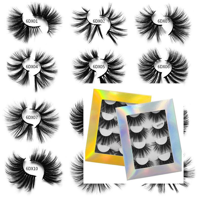 25mm Kirpik Yanlış Kirpik 4 Pairs Dramatik Faux 3D Vizon Kirpik Kabarık Hacim Kalın Çapraz Abartılı Yumuşak Curl Sahte Göz Lashes Makyaj