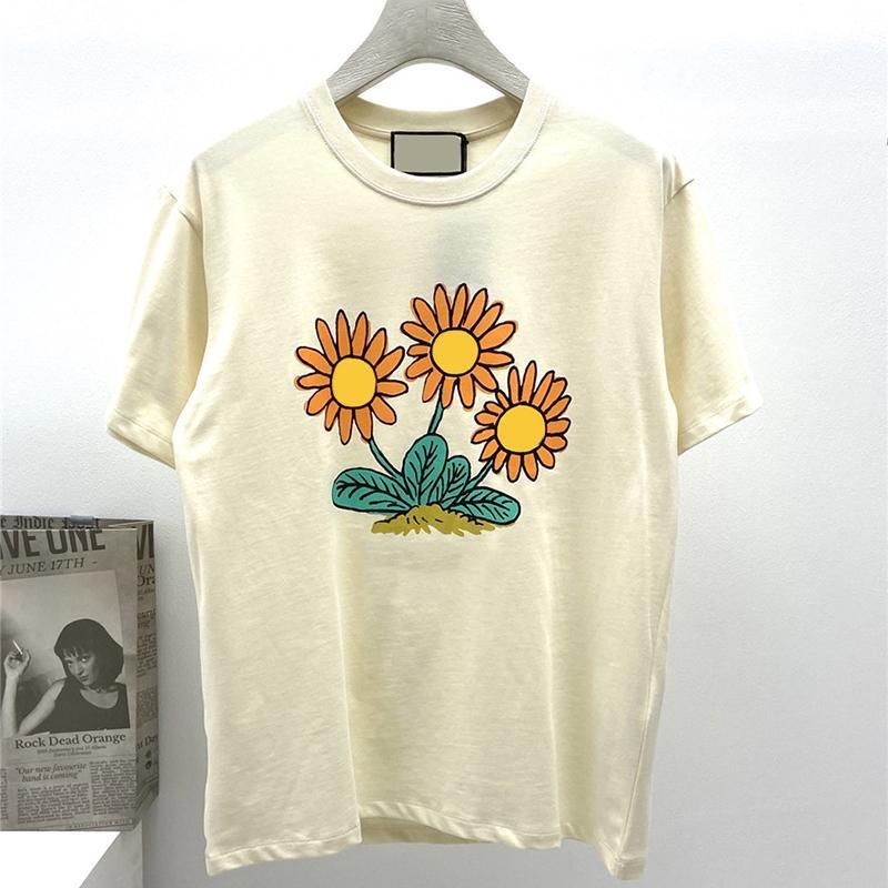Moda para hombre diseñador camiseta divertida girasol impresión manga corta de alta calidad de alta calidad de tamaño de lujo tamaño M-2XL