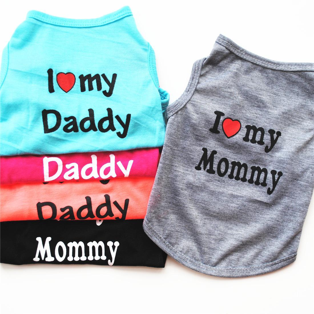 Sevimli Köpek Giyim Benim Annemi Seviyorum Baba Giysileri Konfor Kostüm Yelek Yavru Kediler Ceket Giyim T-shirt Pet Malzemeleri