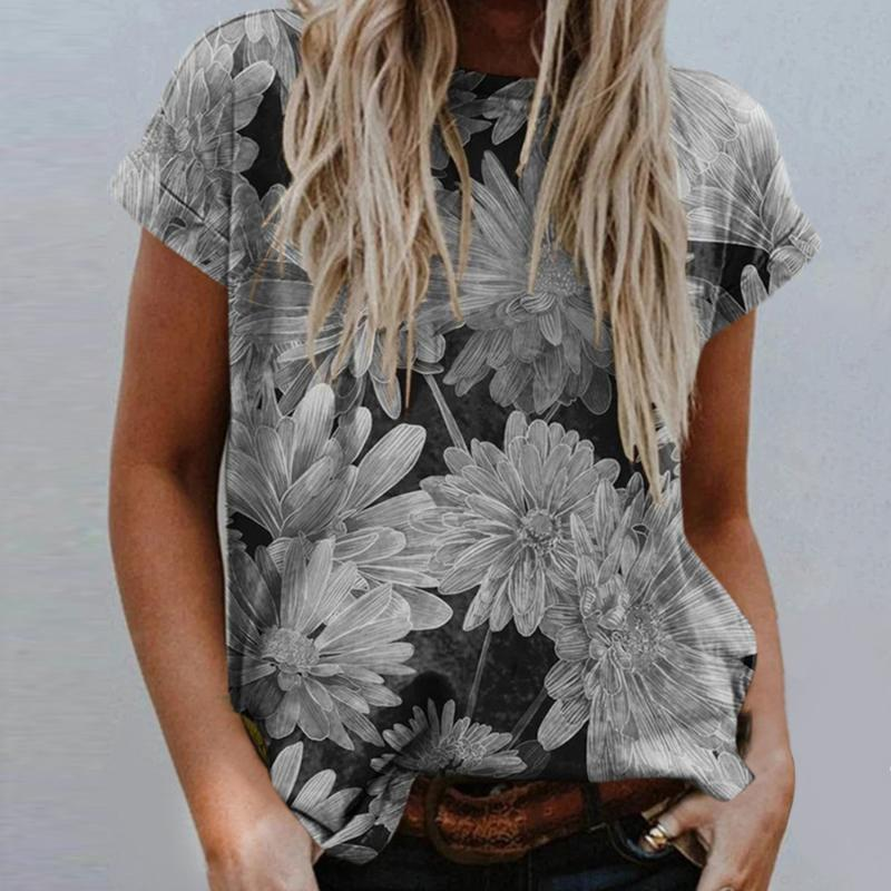 Fashion Print Women's Summer T Shirt O Neck Casual Loose Floral Printed Flower Tie Dye Tops Plus Size Short Sleeve T-Shirt