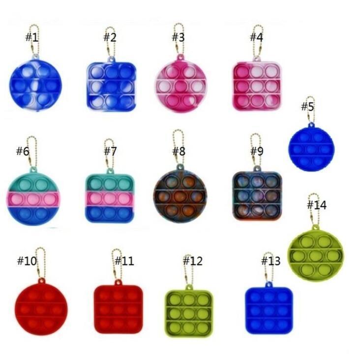 Fidget Simple Dimple Toy Decomusion Finger Keychain Toys Llavero de silicona Anti Estrés Push Push Bubble Board Favors Regalos
