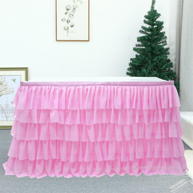 185 cm x 77cm Colore solido Gonne da tavolo Tulle Ruffled Tavolo Gonna Decorazione per rettangolo Tavolo rotondo 5 strati Home Decor Bianco 1290 V2