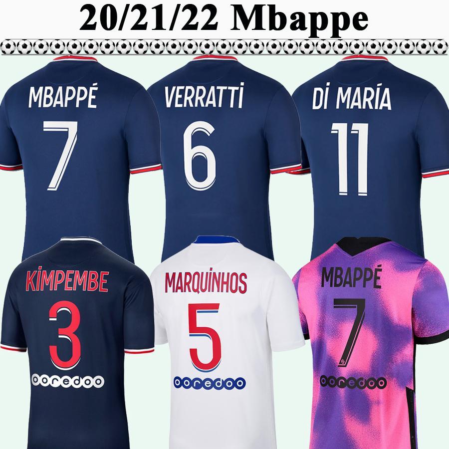 20 21 22 Mbappe Verratti ICARDI MENS SOCCER JERSEYS KIMPMBE DI MARIA Accueil 3ème Shirt de football Draxler Maillots de pied