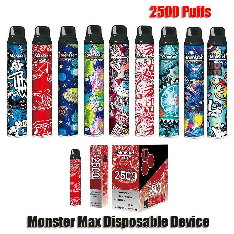 Original Monster Max Disposable E Cigarettes Device Kit 2500 Puffs Prefilled Pod Vape Pen Authentic VS Bar Plus Dual