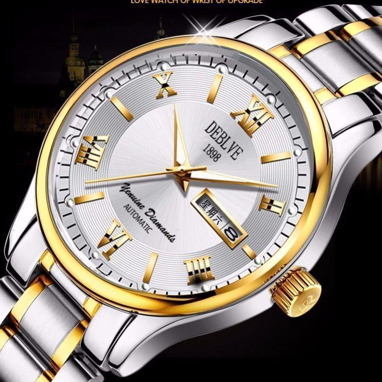 Calendrier automatique lumineux Swiss Automatic Steel Bande d'acier Mode Lovers Quartz Non Mechanical Watch