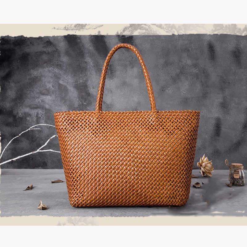 여자 저장 가방 숄더백 Bag2021 럭셔리 원래 수제 100 % 진짜 소 가죽 패션 짠 성격 대용량 접이식 C