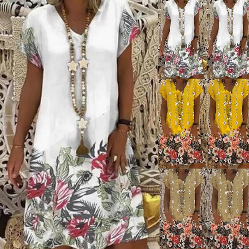 2021 Designer Ladies Printed V-neck Short-sleeved Dress Fashion Casual Factory Direct Sales