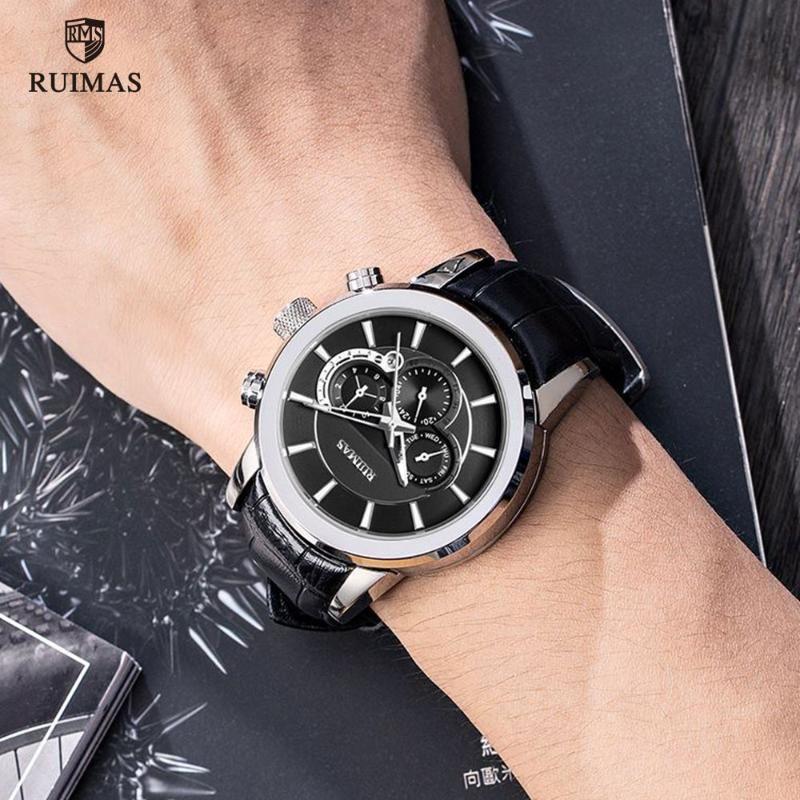 Üst Marka Otomatik Saatler Erkekler Lüks Deri Kayış Kol Suya Dayanıklı Mekanik İzle Adam Relogios Masculino Saatı
