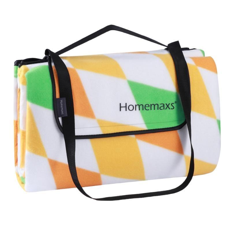 2mx2m 방수 피크닉 담요 접이식 핸디 매트 스트랩 야외 캠핑 토트 녹색 노란색 romboids 패드