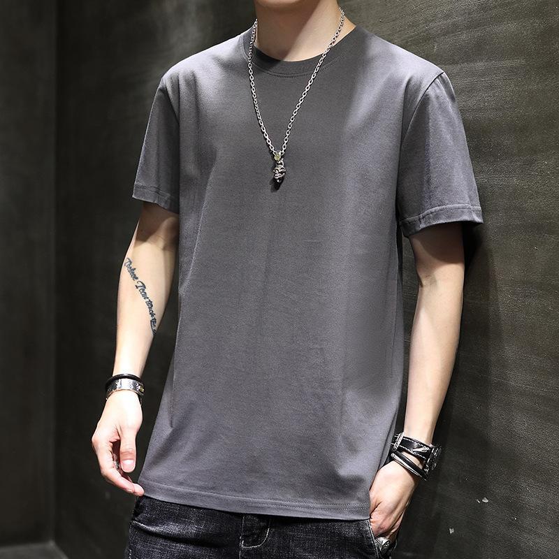 Camiseta de manga corta para hombre Cuello redondo Suelto Ropa de ajuste de verano Amantes de la moda de verano Sólido Media manga tamaño grande Tamaño de moda Hombres