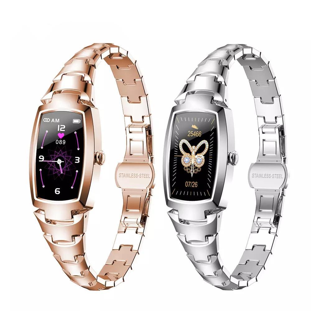 2021 H8 Pro Smart Watch Mulheres Moda Linda Pulseiras Relógios Mulheres Monitoramento de Taxa Heart Lembrete Lembrete SmartWatch Bluetooth para iOS Android